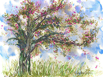 Painting - Pink Springtime Fairy Tree Watercolour by CheyAnne Sexton
