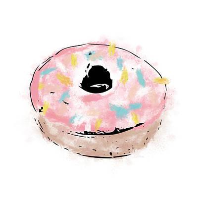 Mixed Media - Pink Sprinkle Donut- Art By Linda Woods by Linda Woods