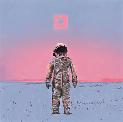 Astronaut Painting - Pink Square by Scott Listfield