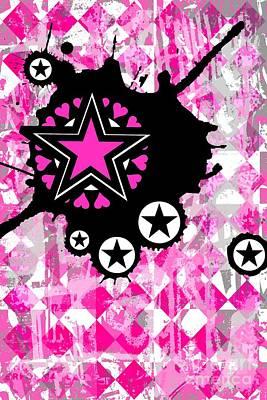 Pink Star Splatter Art Print by Roseanne Jones