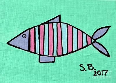 Painting - Pink Stripe by Sean Brushingham