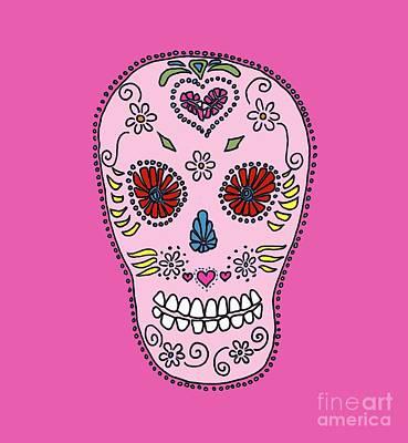 Sugar Skull Drawing - Pink Sugar Skull by Edward Fielding
