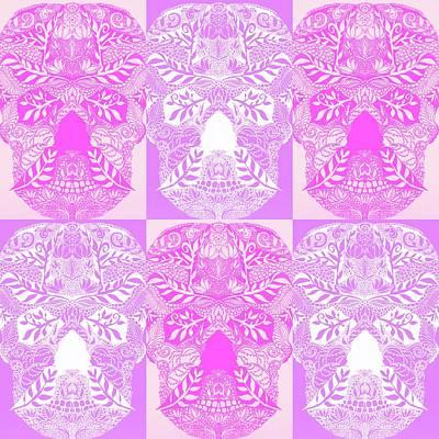 Sugar Skull Drawing - Pink Sugar Skulls by Cathy Jacobs