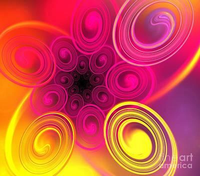 Digital Art - Pink Sun Ovals by Kim Sy Ok