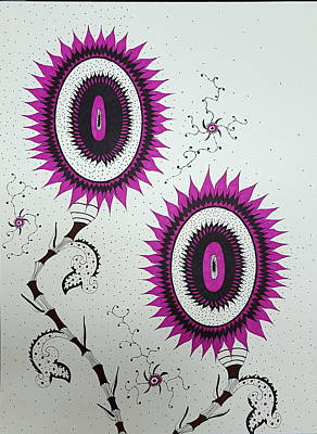 Drawing - Pink Sunflowers by Steven Stutz