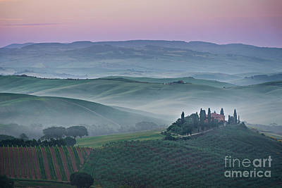 Photograph - Pink Sunrise Over Podere Il Belvedere In Tuscany by IPics Photography