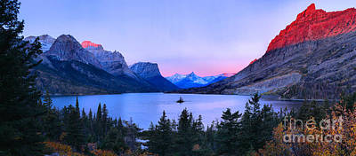 Photograph - Pink Sunrise Peaks At St. Mary Panorama by Adam Jewell