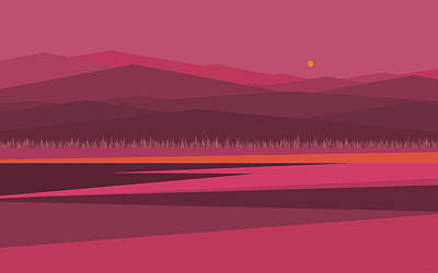 Digital Art - Pink Sunrise by Val Arie