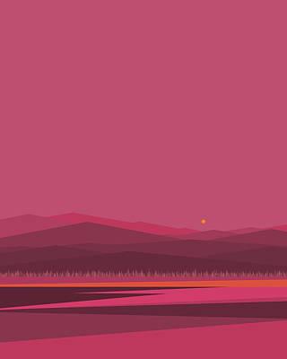 Digital Art - Pink Sunrise - Vertical by Val Arie