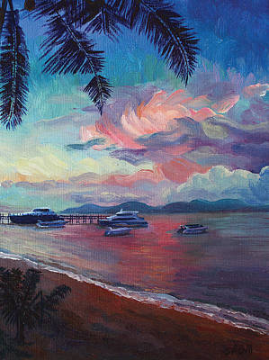 Painting - Pink Sunset At Samui Beach by Alina Malykhina