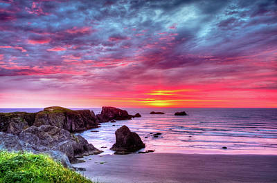 Pink Sunset Bandon Oregon Art Print by Connie Cooper-Edwards