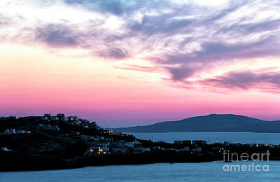 Photograph - Pink Sunset Clouds Over Mykonos by John Rizzuto