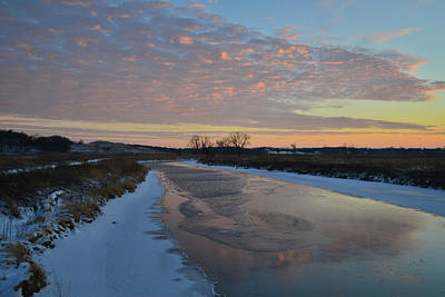 Photograph - Pink Sunset Clouds Reflect In Frozen Nippersink Creek by Ray Mathis