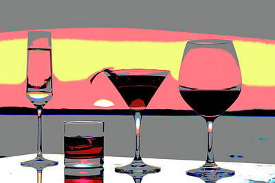 Pink Sunset Drinks Print by Richard Lawrence