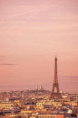 Paris Skyline Royalty-Free and Rights-Managed Images - Pink sunset in Paris by Delphimages Photo Creations
