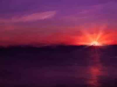 Digital Art - Pink Sunset by Johanne Dauphinais