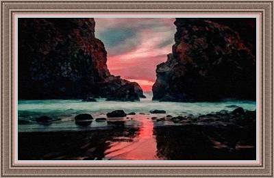 Pink Sunset On The Coast Of Cornwall L B With Alt. Decorative Ornate Printed Frame.  Art Print