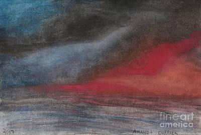 Pink Sunset Over Ocean Art Print by Amanda Currier