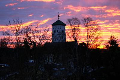 Photograph - Pink Sunset Over The Church  by Jeanette Rode Dybdahl