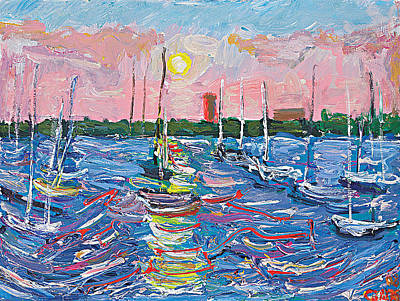 Calhouns Painting - Pink Sunset Sailboats by Patrick Ginter