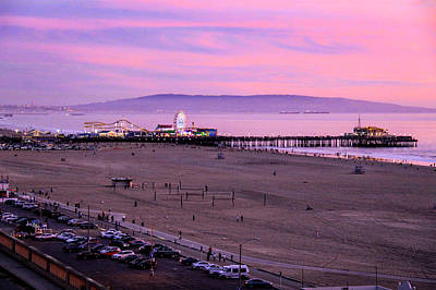 Photograph - Pink Sunset - Santa Monica Pier by Gene Parks