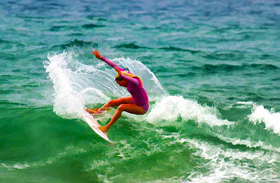 Digital Art - Pink Surfer by Waterdancer