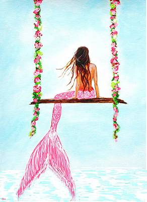Painting - Pink Swing Hangout by Leslie Allen