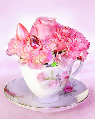 Digital Art - Pink Teacup Bouquet by Francesa Miller