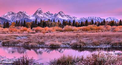 Photograph - Pink Teton Fall Reflections Panorama by Adam Jewell