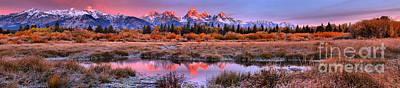 Photograph - Pink Teton Peaks Large Panorama by Adam Jewell