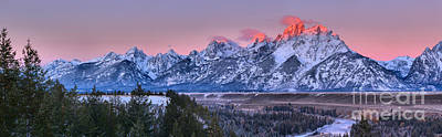 Photograph - Pink Teton Peaks Over The Snake River by Adam Jewell