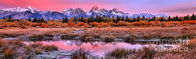 Photograph - Pink Teton Sunrise Panorama by Adam Jewell