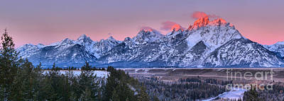 Photograph - Pink Tips Over The Snake River Panorama by Adam Jewell