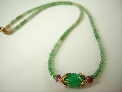Adove Jewelry - Pink Tourmaline And Gemmy Chrysoprase Necklace by Adove  Fine Jewelry