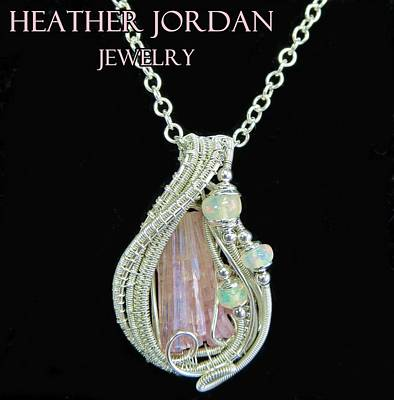 Pink Tourmaline And Sterling Silver Wire-wrapped Pendant With Ethiopian Welo Opals Ptrmpss1 Original by Heather Jordan