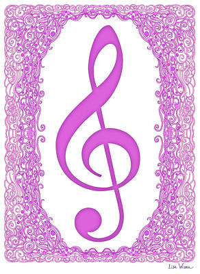Digital Art - Pink Treble Clef With Pink Border by Lise Winne