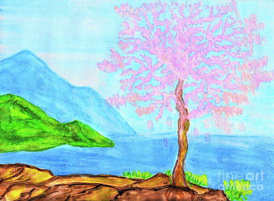 Pink Tree On Sea Coast, Painting Original by Irina Afonskaya
