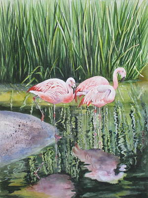 Pink Trio Art Print by Mary McCullah