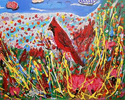 Painting - Cardinal's Pink Tulip Flower Garden by Gh FiLben