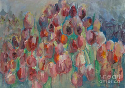 Painting - Pink Tulip Field by Diane montana Jansson