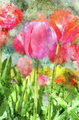 Grow Digital Art - Pink Tulip In The Garden by Brandon Bourdages