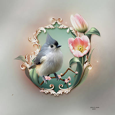 Titmouse Digital Art - Pink Tulip by John Junek