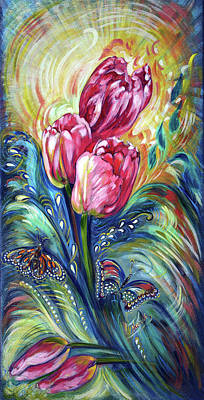 Pink Tulips And Butterflies Art Print