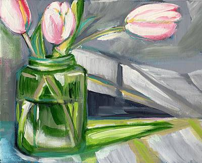 Abstract Realism Painting - Pink Tulips by Anne Seay