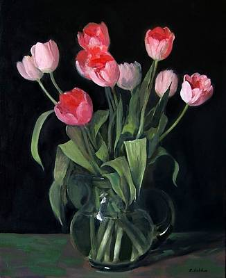 Painting - Pink Tulips In Glass Pitcher, Black Background by Robert Holden