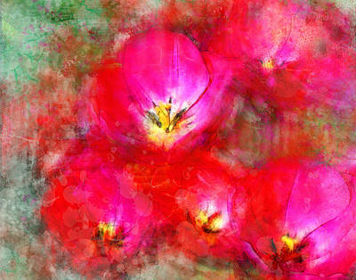 Summer Digital Art - Pink Tulips by Moon Stumpp