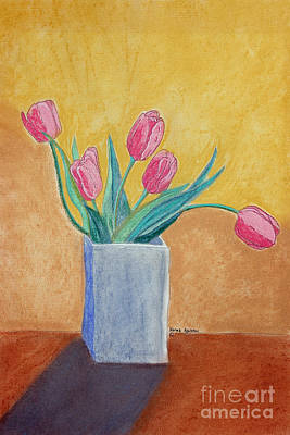 Pink Tulips Art Print by Norma Appleton