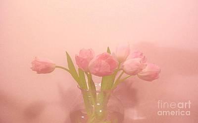 Pink Tulips On Pink Art Print by Marsha Heiken