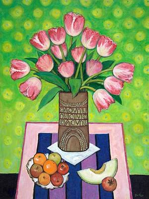 Apple Painting - Pink Tulips by Sandra Delaney