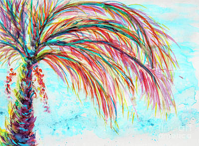 Painting - Pink Turquoise Palm Tree Watercolor by CheyAnne Sexton